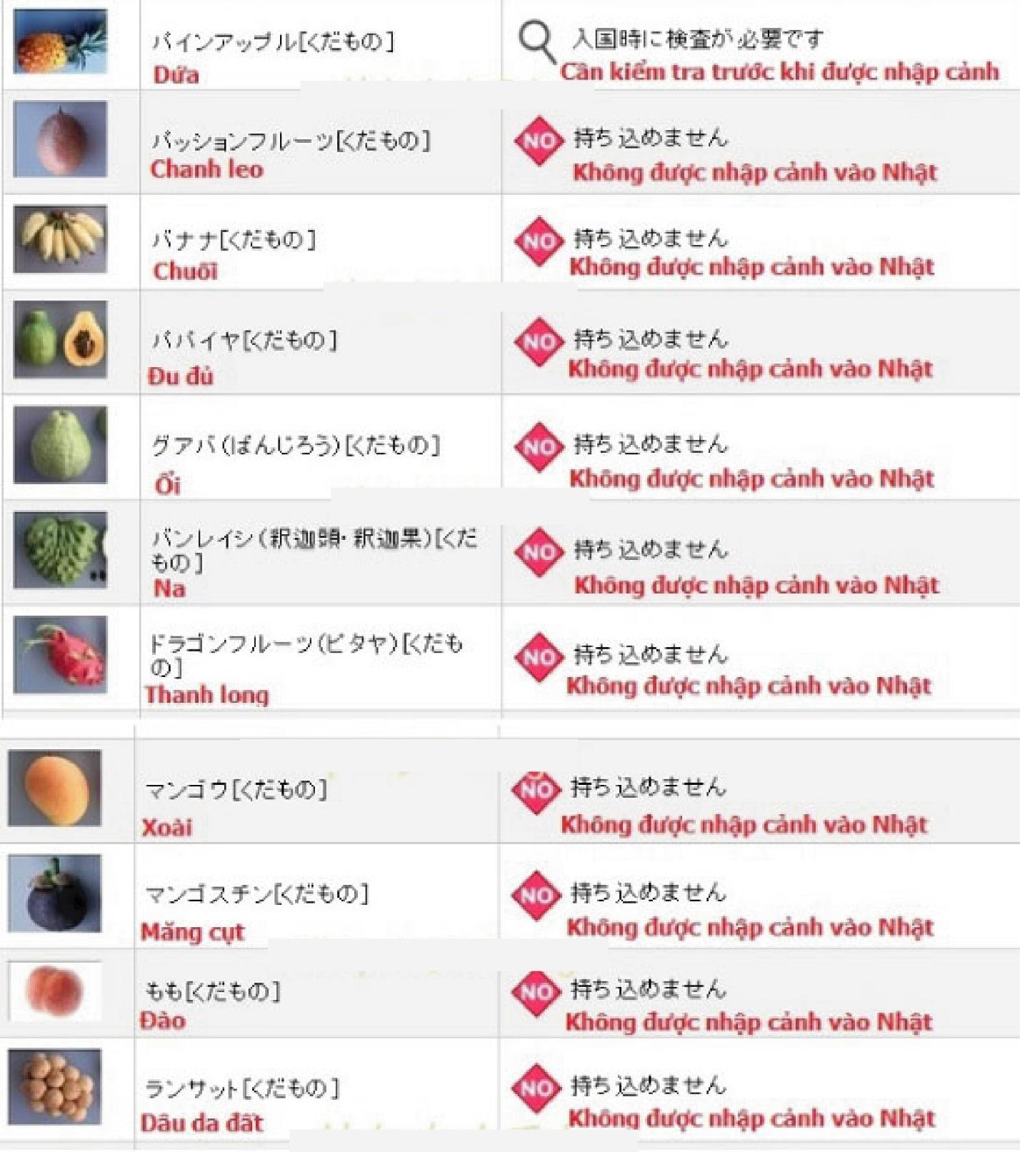 Thực phẩm nào bị cấm nhập cảnh vào Nhật Bản 7