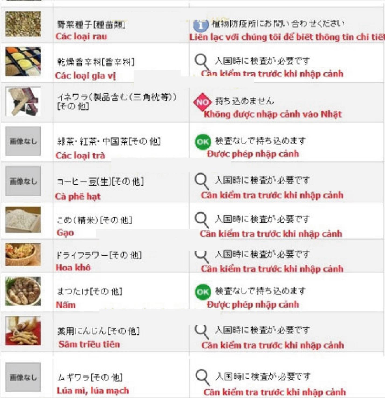 Thực phẩm nào bị cấm nhập cảnh vào Nhật Bản 10