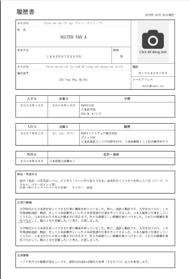 Mẫu CV tiếng Nhật bạn có thể tham khảo
